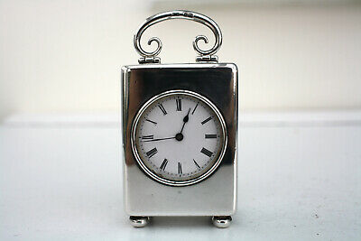 Superb Miniature Solid Silver Carriage Mantel Clock Jtc London 1902