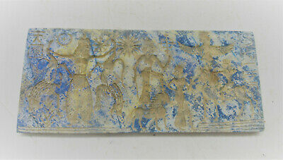Ancient Near Eastern Lapis Lazuli Tablet With Scenes And Early From Of Writing