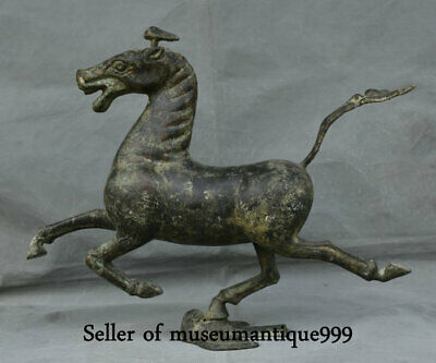 """18"""" Old Chinese Bronze Feng Shui Running Horse Animal Flying Swallow Statue"""