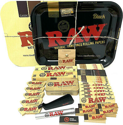 Reds Brand Exclusive with RAW Black King Size Slim Rolling Papers Large Tray set