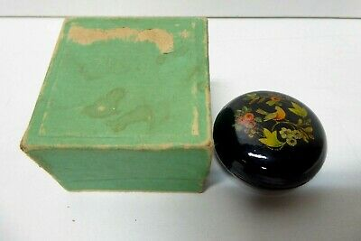 Antique Wooden Lacquered Hand Painted Bird Russian Lidded Timber Case Round Box