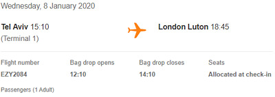 One way flight ticket Easyjet Tel Aviv TLV to London LTN 8/01/2020