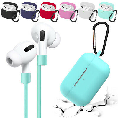 For New Apple Airpods Pro 2019 Soft Silicone Slim Case with Strap Holder Skin