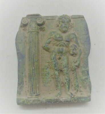 Circa 200-300Ad Ancient Roman Bronze Panel Fragment Depicting Zues