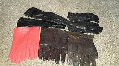 Job Lot 5 Pairs Ladies Vintage Leather Gloves  S/M   Black Brown Red