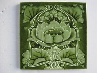 ANTIQUE MOULDED & MAJOLICA GLAZED ART NOUVEAU TILE - MARSDENS - c1900