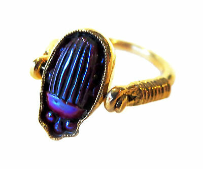 TIFFANY Glass RED FAVRILLE Scarab Yellow 14K GOLD Ring - LC Tiffany