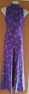Purple Silver Catsuit Jumpsuit Dance Wear Ice Skating BatonTwirling Costume Size