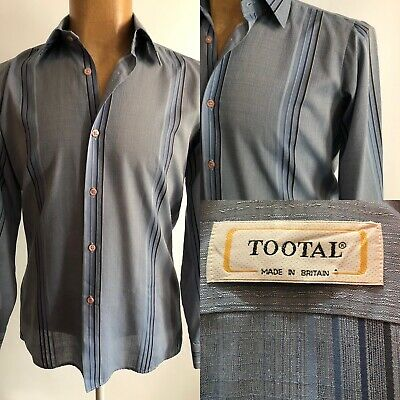 ORIGINAL MENS TOOTAL SHIRT BLUE STRIPE 1970s RETRO