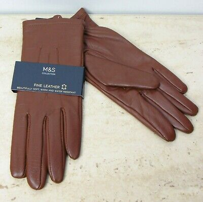 M&S Fine REAL LEATHER Ladies GLOVES ~ Size SMALL ~ Dark Tan