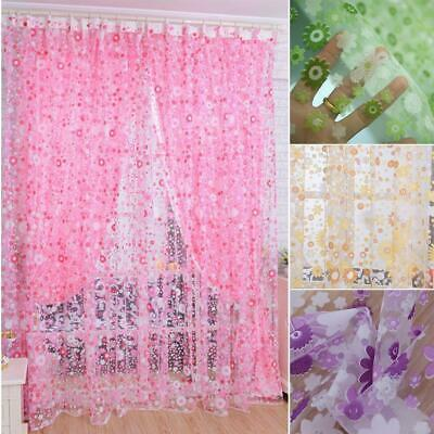 Flower Floral Voile Slot Top Net Curtain Curtains Sheer Voile Panel Tulle Window