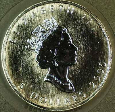 2000 Canada 1oz Proof-Like Silver Maple Leaf 5 Dollars Coin Millennium Edition