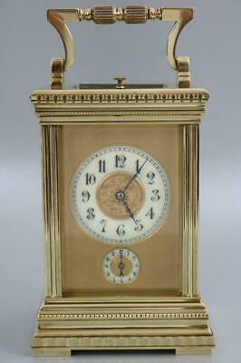 GRANDE SONNERIE FRENCH CARRIAGE CLOCK circa1880 original travel case key AMAZING