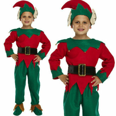 4-12 Childrens Kids Elf Santas Little Helper Fancy Dress Costume Christmas Xmas