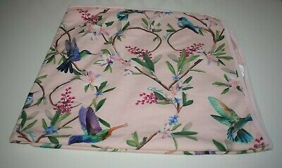 Ted Baker Pink Floral Baby Blanket with Tropical Birds