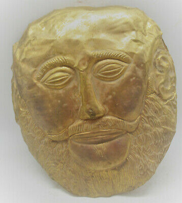 Scarce Ancient Near Eastern Hand Beaten Low Carat Gold Face Mask 100Bce