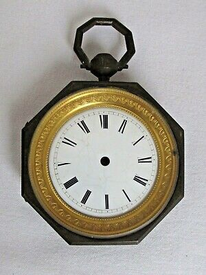 Antique French Hexagonal Clock Shaped like a Pocket Watch 19th c. Case Only