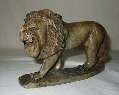 Vintage Stone Lion Sculpture Made in Zimbabwe