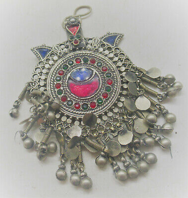 Beautiful Late Medieval Islamic Silver Ottomans Amulet With Stone Inserts