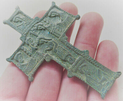 Superb Ancient Byzantine Bronze Icon With Depiction Of Christ On Cross Rare