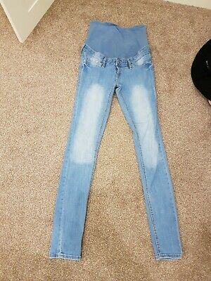 H&M Pre Owned Skinny Over Bump Maternity Light Blue Jeans Uk12