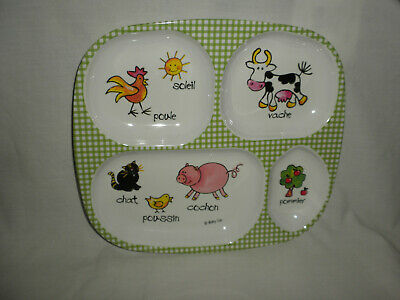 "BABYCIE 9 ½"" L 4 Compartment Melamine FARM ANIMAL Design In FRENCH"