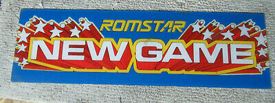 22 1/4-7'' original ROMSTAR NEW GAME plexiglass arcade video game sign marquee