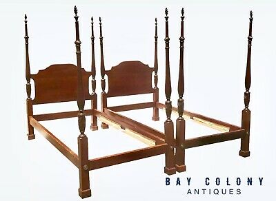 Pair Of Centennial Federal Antique Style Mahogany Plantation Style Beds