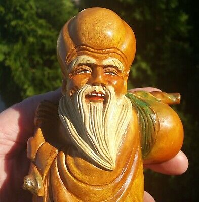 """7"""" WISE MAN vtg chinese wood carving statue antique japanese buddha art figurine"""
