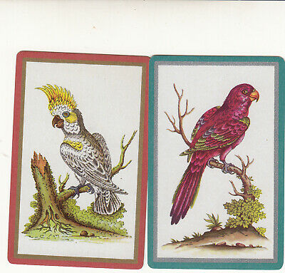 #208 2 (pair) single vintage single playing swap cards - Parrots - JS