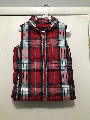 LANDS' END Classic Red Plaid Puffer Vest Insulated Size XS 2-4 Great Condition