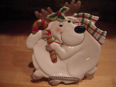 Fitz and Floyd Essentials Christmas Plaid Deer Canape Plate - 9-inch