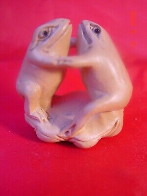 Netsuke Handcarved Wood, 2 Lucky Frogs Dancing, Exc Cond