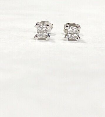 1 ctw Genuine Princess & Round VS Diamond Stud Earrings 14k White Gold