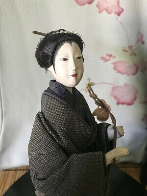 Late Edo/Early Meiji Classic Old Geisha Beauty,Gofun Sheen*Silk Kimono,Kanzashi