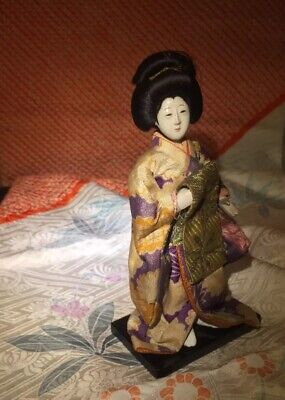 "Stunning Tiny 6"" Older Geisha *Hi Sheen Gofun*Silk Kimono*Traditionl Hair Style"