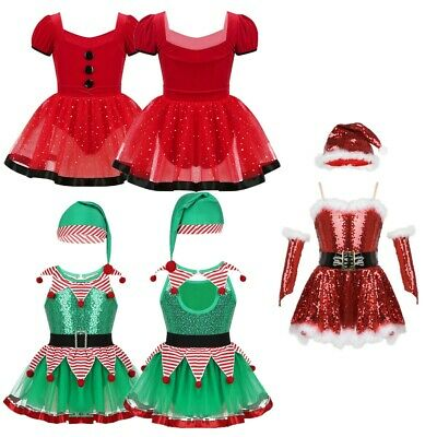 Kids Girls Christmas Party Outfit Baby Xmas Dance Costume Sequined Skating Dress
