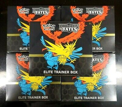 LOT OF 5 Pokemon TCG Hidden Fates Elite Trainer Box New In Hand FREE SHIPPING