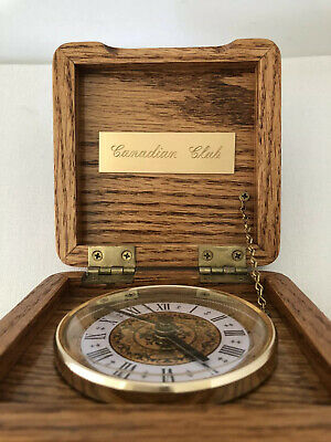 Canadian Club Quartz's Clock Crafted Wood Box With Chain Tested & Battery Works