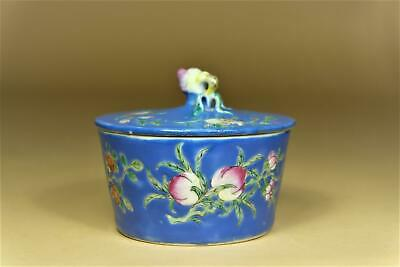 """⭕️ Chinese Blue Glazed Famille-Rose """"Peaches"""" Box."""