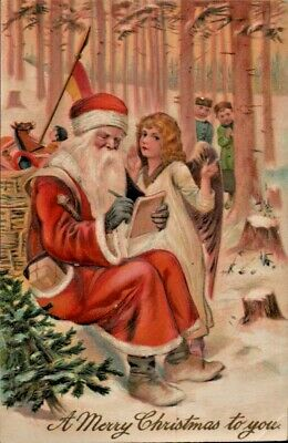 "Antique Postcard ""Merry Christmas to You"" Santa Angel Forest List  P.F.B. p.1909"