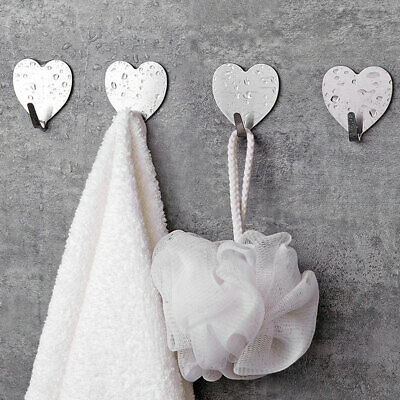 10 Heavy Duty Stainless Steel Heart Seamless Adhesive Keys Towel Coat Wall Hooks