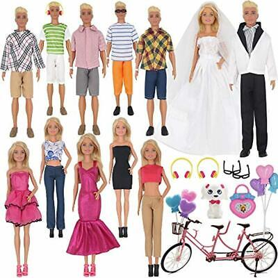 30Pcs Doll Clothes and Accessories for Ken Doll and Barbie Doll Includes 12 Set