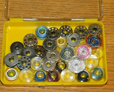 vintage LOT BOBINE box MACHINE SINGER à COUDRE ancienne SEWING bobin METAL boite