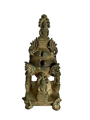 "19th Century Antique Bronze Thai Meditation Buddha & Naga Stupa -15cm/6"" Tall"