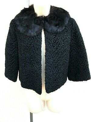 Vintage Old Hollywood Mahogany-MINK COLLAR PERSIAN CURLY LAMB Fur JACKET Bolero