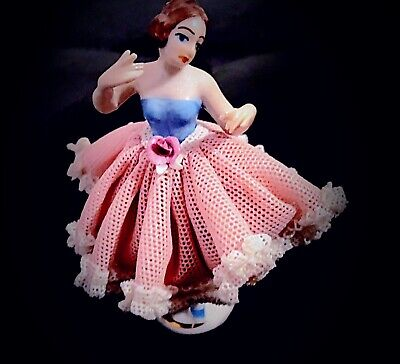 Antique Miniature Dresden Lace Dress Ballerina German Porcelain Figurine