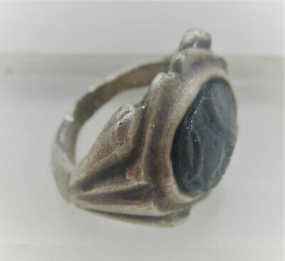 Ancient Roman Legionary Ar Silver Seal Ring With Black Stone Cameo Insert
