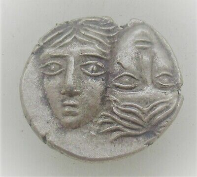 Ancient Greek Ar Silver Hemidrachm Coin Istros Twins And Eagle