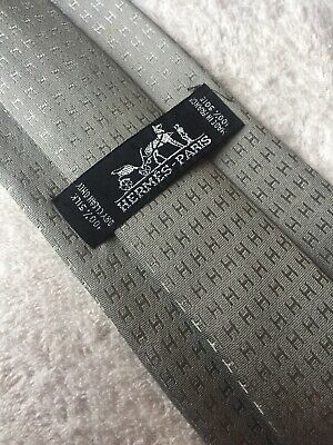 Hermes Tie 9 Cm HH Design In Grey